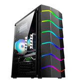 Wave Computer PC tok hűtőventilátor USB 2.0 játék RGB fényhatás asztali játék tok támogatás ATX / M-ATX / MINI-ITX alaplapi gamer ház