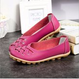 Large Size Colorful Slip On Hollow Out Round Toe Flat Loafer