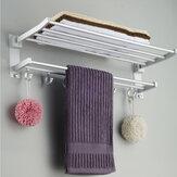 الحمام Alumimum مطوية فضية منشفة حمام الجرف منشفة حامل الرف مع 5 خطاف تخزين الرف