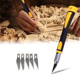 Holzschnitzerei Werkzeug Scharfe rutschfeste Griff Handwerk Kunst Hobby Skulptur Cutter Tool mit 5 Stücke Klingen