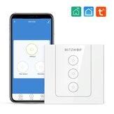 BlitzWolf® BW-SS8 Tuya 800W RF Wi-Fi Modo dual Smart Light Touch Interruptor de pared APLICACIÓN de 3 vías Control remoto Control por voz Programación de temporización Panel táctil de vidrio Trabaja con Amazon Alexa y Google Assistant