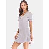 Women Modal Lace-trim Casual Loungewear Short Sleeve Sleepwear Nightgown