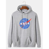Cotton Mens NASA Print Long Sleeve Casual Hoodies