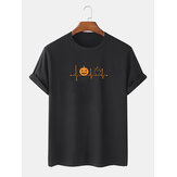 Mens 100% Cotton Halloween Cartoon Print Crew Neck Short Sleeve T-Shirts
