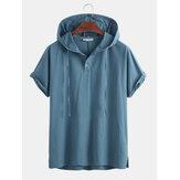 Hombres 100% algodón con capucha con cordón Botones Camisetas casuales en color liso