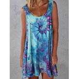 Women Tie-dye Print Crew Neck Summer Sleeveless Loose Dress