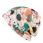 Women Double Hat Scarf Color Printing Stripe Fashion Bonnet Cap Multi-function Neck Scarves