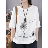 Cotton Flower Printed Round Neck Artsy Thin T-Shirt for Women