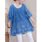 Embroidery Crochet Pure Color Half Sleeve Blouse