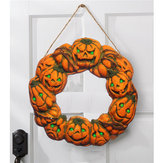 Halloween Spooky Wreath LED Lantern LED Pumpkin Light Door Hanger Home Decor