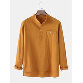 Mens Flax Chest Pocket Long Sleeve  Solid Color High-Low Hem Henley Shirts
