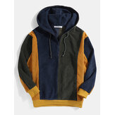 Mens Retro Colorblock Stitching Corduroy Drawstring Pullover Hoodies