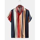 メンズ夏マルチストライプ100%ポリエステル半袖カジュアルシャツ
