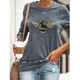 Women Large Bee Print Round Neck Casual Long Sleeve Blouses