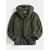 Fluffy Solid Color Button Front Teddy Hooddie Jacket