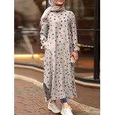 Women Colorful Print Round Neck Side Split Casual Long Sleeve Maxi Dresses