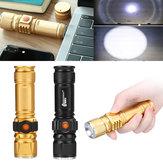 T6 USB充電式LED懐中電灯10Xテレスコピックズームパワーワークスポットライトランプ