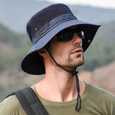 Mens Foldable Breathable Bucket Hat With String Outdoor Fishing Hat Climbing Sunshade Caps