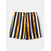 Herren Colorful Stripe Shorts Schnelltrocknendes Mesh-Futter Mid Länge Beach Holiday Swim Trunks Shorts