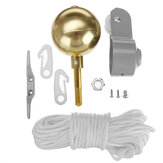 Flagg Pole Parts Repair Tool Kits 2-tums Diameter Truck Pulley Gold Ball Cleat Halyard Rope