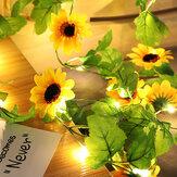 20LED محاكاة عباد الشمس سلسلة أضواء معلقة فاينز النبات جارلاند الحرير الاصطناعي عباد الشمس فاينز البطارية بالطاقة للمنزل حديقة حفل زفاف ديكو
