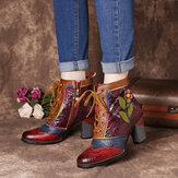 SOCOFY Retro Kabartmalı Hakiki Deri Ek Pembe Çiçek Yüksek Topuk Bileği Botlar
