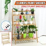 Supporto per piante in legno a 3 strati con ripiani per piante da giardino