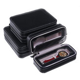 2/4/8 Slots Portable PU Leather Zipper Watch Storage Case