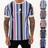 Mens T-shirt Summer Streetwear Stripe Men T Shirt Casual Man Clothing Hip Hop Male Tees Tops Fashion Clothing Men