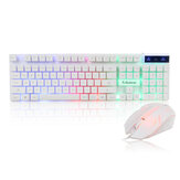 KM320 Wired Keyboard & Mouse Set 104 Keys USB Wired Gaming Luminous LED Backlight Keyboard Mouse Combo Home Office Kit for Laptop Computer PC