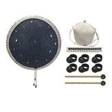Tambor de língua de aço Tambor de 14 polegadas e 15 tons Tambor portátil Tambor Instrumento de percussão Yoga Meditação Presente para amantes da música para iniciantes