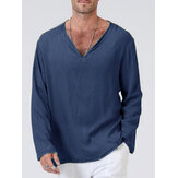 Mens 100% Cotton Solid Color V-Neck Casual Long Sleeve T-Shirts