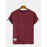 Solid Color Short Sleeve Cotton & Linen Breathable T-Shirts