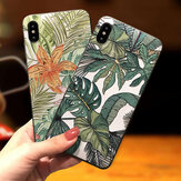 Fashion Leaf Pattern Embossed Shockproof Anti-slip Non-yellow Protective Case for iPhone X / XS / XS Max / XR / 6 / 7 / 8 / 6S Plus / 6 Plus / 7 Plus / 8 Plus