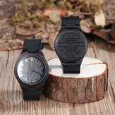 BOBO BIRD LOVE ALWAYS Series Engraved Wooden Wristwatch Men Quartz Watch Gift for Husband / Son
