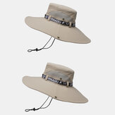 2PCS Collrown Mens Outdoor Fishing Climbing Hat Breathable Mesh Oversized Brim Sunshade Hat Bucket Hat With Adjustable String