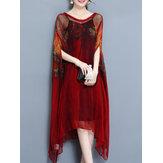 エレガントなプリント不規則な2つのワンピースドレス