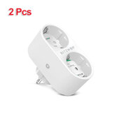 [2PCS] BlitzWolf® BW-SHP7 16A 2 IN 1 Dual EU Plug Smart WIFI Socket Independent Remote Controller Electricity Statistics Home Light Switch Timer