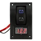 12V Marine Boat Dual LED Battery Test Panel Rocker Switch LED Voltage Voltmeter