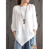 Casual Women Loose Cotton Linen Irregular Hem Blouse