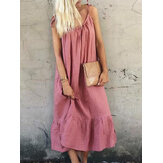 Casual Solto Spaghetti Straps Solid Color Ruffles Hem Dress
