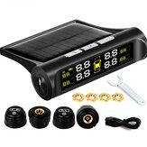 Wireless Solar TPMS LCD Sistema de monitoramento da pressão dos pneus do carro + 4 externos Sensor