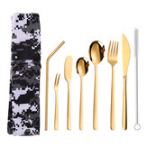 304 Stainless Steel Cutter Fork Spoon Set Portable Camouflage Western Tableware Bag Outdoor Dinnerware Set
