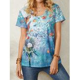 Женские повседневные футболки с короткими рукавами и V-образным вырезом с принтом бабочек по всей поверхности