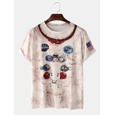 Abstract Print Casual Round Neck Short Sleeve T-Shirts