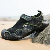 Homens malha tecido antiderrapante Gancho laço fechado toe casual Praia sandálias