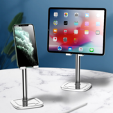 Cafele Aluminium Desktop Telescopisch In hoogte verstelbaar Telefoonhouder Tabletstandaard Voor 4,0-12,9 inch Smart Phone Tablet Voor iPhone 11 Pro Max SE 2020 Voor iPad Pro 12,9 inch Thuiskantoor Youtube Tik Tok Video Live Stream