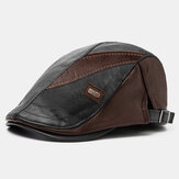 Collrown Men PU Leather Retro Casual Contrast Color Newsboy Hat Forward Hat Beret Hat