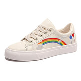 Women Low Top Rainbow Comfy Wearable Casual Flat Court Sneakers