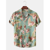 Men Cotton Floral Print Turn Down Collar Hawaii Holiady Short Sleeve Shirts